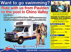Paulden and Chino Valley Rides to the Aquatic Center